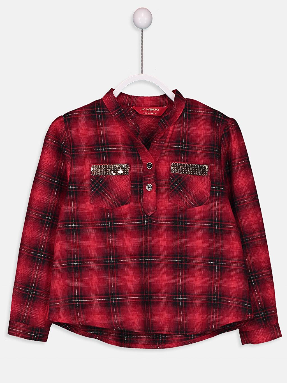%98 Pamuk %1 Poliamid %1 Metalik iplik Uzun Kol Gömlek Ekose Standart Kız Çocuk Flanel Ekose Gömlek