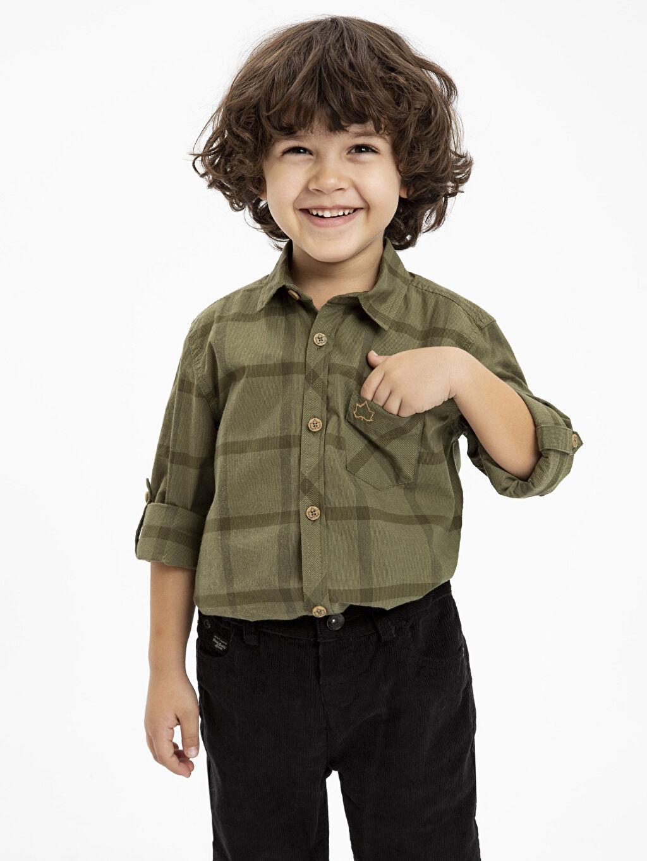 %100 Pamuk Erkek Çocuk Uzun Kollu Armürlü Gömlek