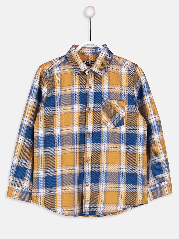 %100 Pamuk Uzun Kol Gabardin Aksesuarsız Gömlek Ekose Standart Erkek Çocuk Twill Gömlek