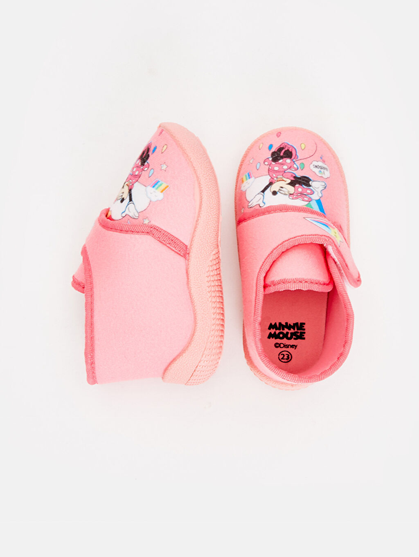 %0 Tekstil malzemeleri (%100 poliester)  Kız Bebek Minnie Mouse Desenli Ev Ayakkabısı