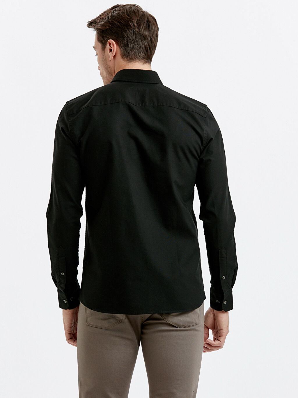 %100 Pamuk Dar Patlı Oxford Uzun Kol Gömlek Düz Düğmeli Gömlek Yaka Slim Fit Uzun Kollu Oxford Gömlek