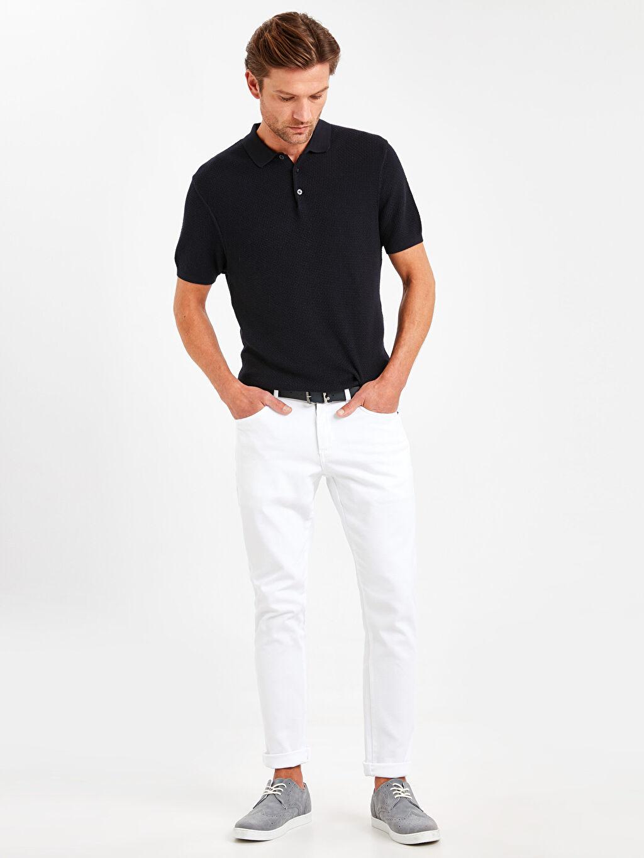 %100 Polyester %98 Pamuk %2 Elastan Kemer Normal Bel Dar Beş Cep Pantolon Düz Slim Fit Dokulu Pantolon