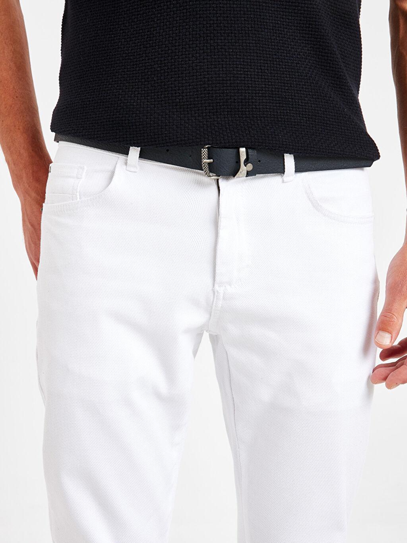 LC Waikiki Beyaz Slim Fit Dokulu Pantolon