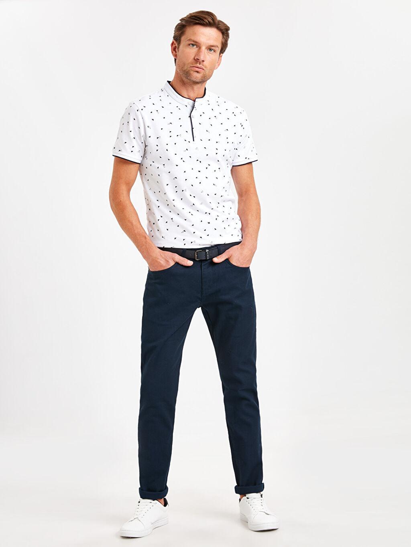 Lacivert Slim Fit Dokulu Pantolon 9S1562Z8 LC Waikiki