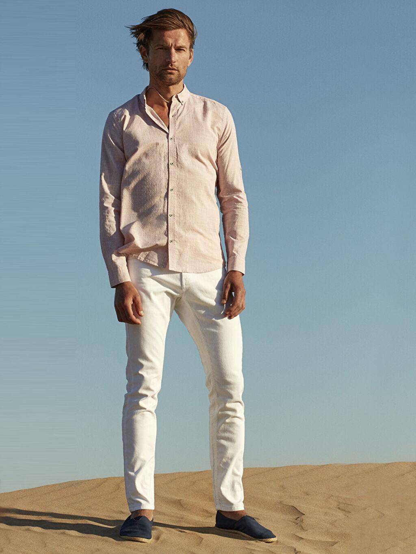 Beyaz Slim Fit Dokulu Pantolon 9S1562Z8 LC Waikiki