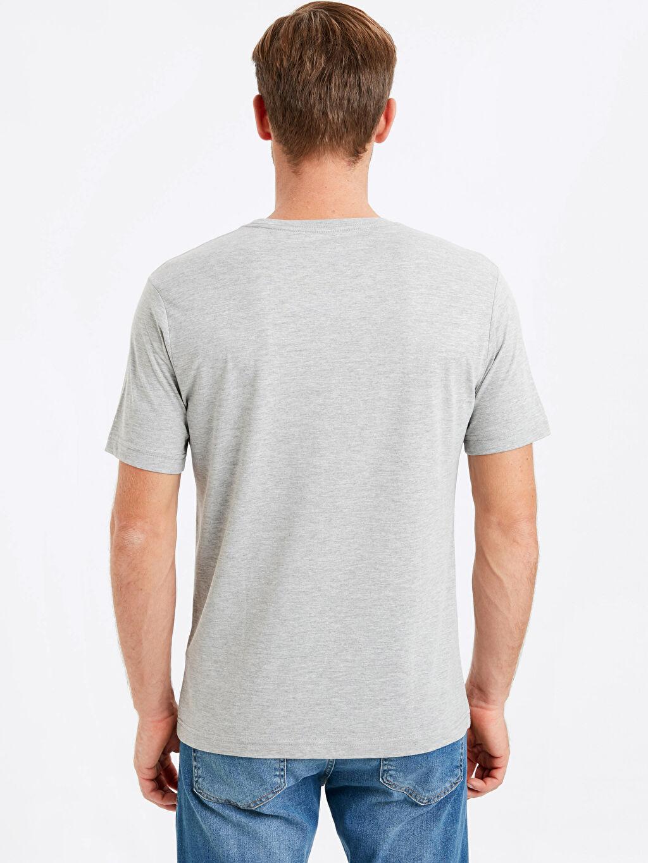 %46 Pamuk %54 Polyester Düz Standart Kısa Kol Tişört Bisiklet Yaka Bisiklet Yaka Basic Tişört