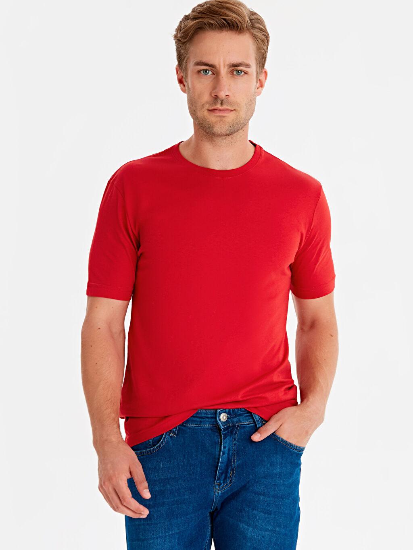 Kırmızı Bisiklet Yaka Basic Tişört 9S1595Z8 LC Waikiki