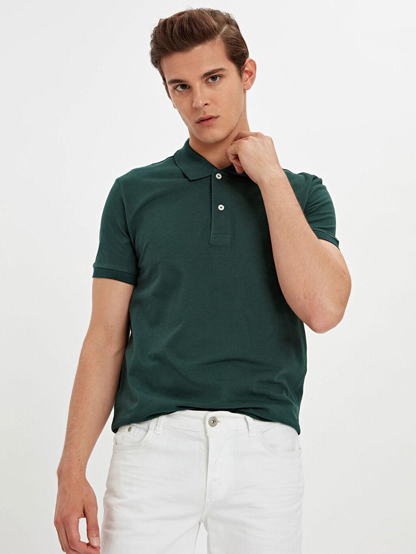 Yeşil Polo Yaka Kısa Kollu Pike Basic Tişört 9S1598Z8 LC Waikiki