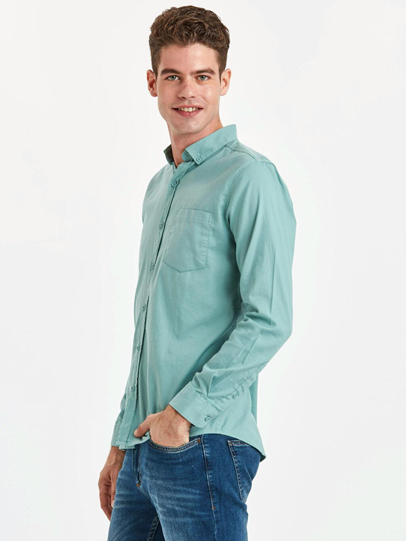 Yeşil Extra Slim Fit Uzun Kollu Armürlü Gömlek 9S1602Z8 LC Waikiki