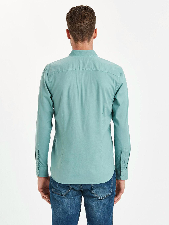 %97 Pamuk %3 Elastan Uzun Kol Düz En Dar Gömlek Düğmeli Extra Slim Fit Uzun Kollu Armürlü Gömlek