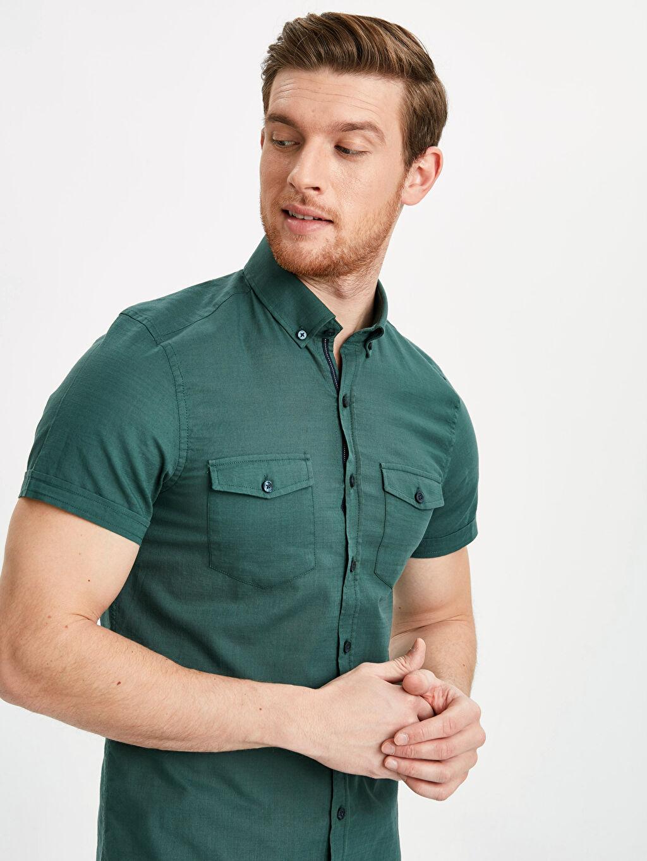 Yeşil Slim Fit Kısa Kollu Poplin Gömlek 9S2803Z8 LC Waikiki