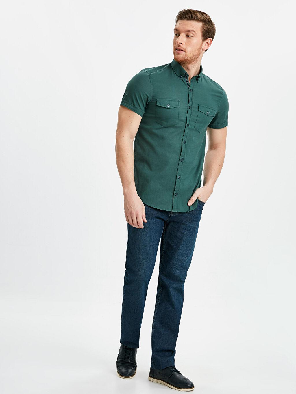 Erkek Slim Fit Kısa Kollu Poplin Gömlek