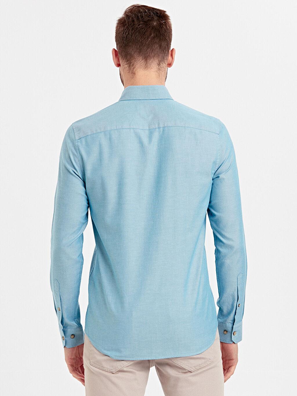 %100 Pamuk Oxford Uzun Kol Düz Gömlek Gömlek Yaka Dar Patlı Slim Fit Uzun Kollu Oxford Gömlek