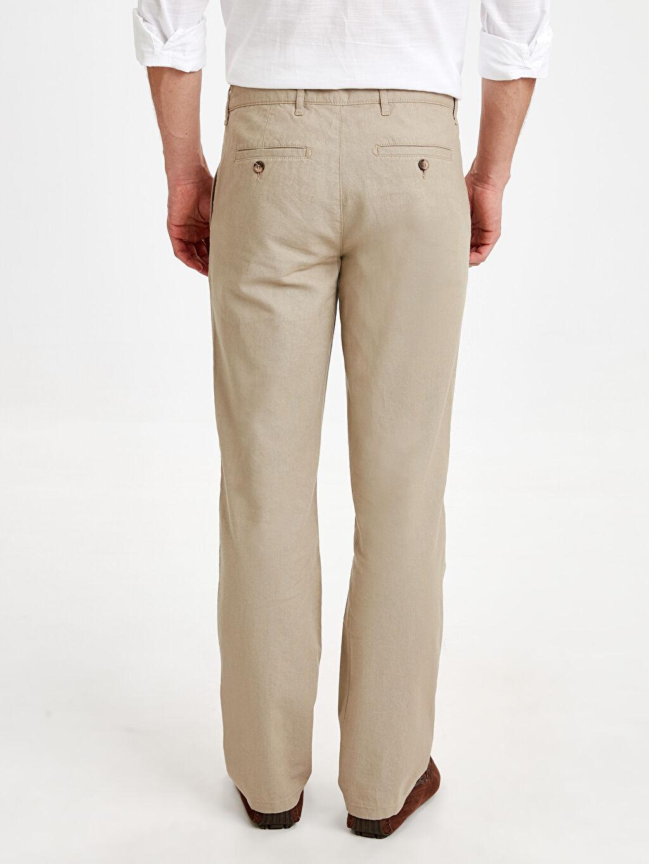 Erkek Normal Kalıp Keten Chino Pantolon