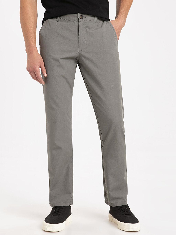 %100 Pamuk Poplin Chino Pantolon Standart Normal Kalıp Chino Pantolon