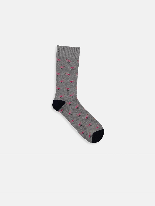 %55 Pamuk %19 Polyester %24 Poliamid %2 Elastan Dikişli Soket Çorap Baskılı Günlük Orta Kalınlık Soket Çorap
