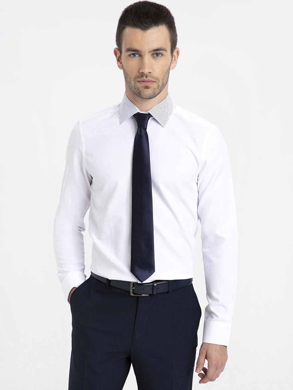 Beyaz Slim Fit Armürlü Uzun Kollu Gömlek 9S7896Z8 LC Waikiki