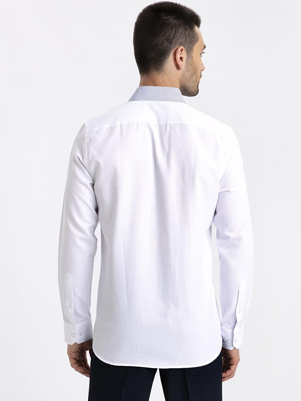 %56 Pamuk %44 Polyester Gömlek Yaka Dar Uzun Kol Düz Gömlek Slim Fit Armürlü Uzun Kollu Gömlek