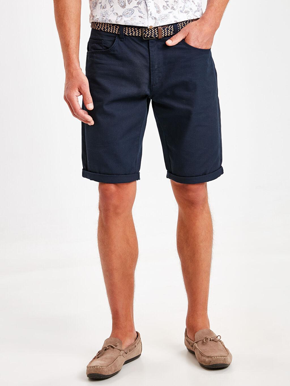 %100 Polyester %100 Pamuk Şort Düz Kemer Mini Standart Regular Fit Bermuda Şort