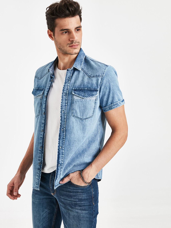 İndigo Slim Fit Jean Gömlek 9S9394Z8 LC Waikiki