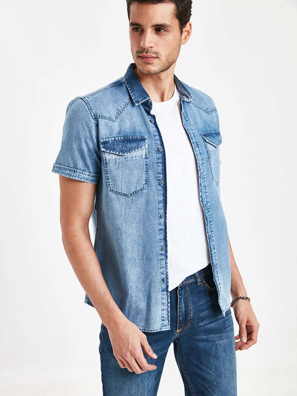 %100 Pamuk Dar Düz Kısa Kol Gömlek Düğmesiz Slim Fit Jean Gömlek