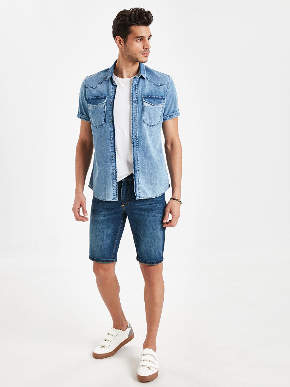 %100 Pamuk Slim Fit Jean Gömlek