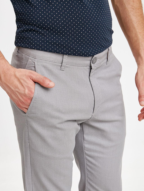 %66 Pamuk %30 Polyester %4 Elastan Slim Fit Dokulu Pantolon
