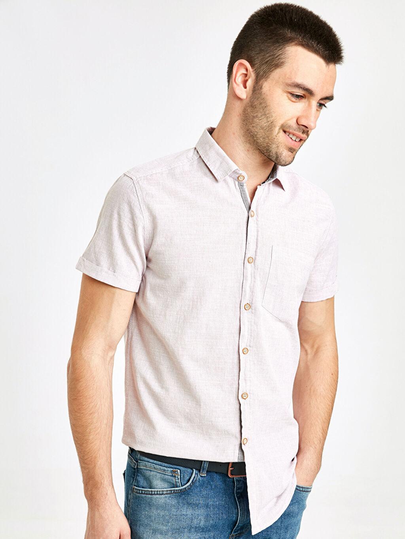 %100 Pamuk Kısa Kol Düz Ekstra Dar Gömlek Gömlek Gömlek Yaka Ekstra Slim Fit Pamuklu Kısa Kollu Gömlek