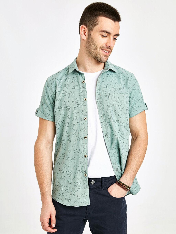 Yeşil Ekstra Slim Fit Kısa Kollu Poplin Gömlek 9SH247Z8 LC Waikiki