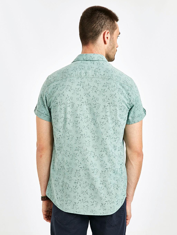 %100 Pamuk Baskılı En Dar Kısa Kol Gömlek Düğmesiz Ekstra Slim Fit Kısa Kollu Poplin Gömlek