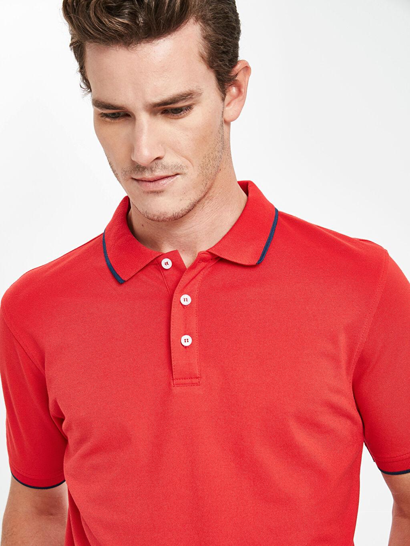 %54 Pamuk %46 Polyester Polo Yaka Basic Kısa Kollu Pike Tişört