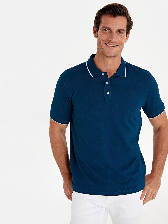%54 Pamuk %46 Polyester Düz Bol Kısa Kol Tişört Polo Polo Yaka Basic Kısa Kollu Pike Tişört