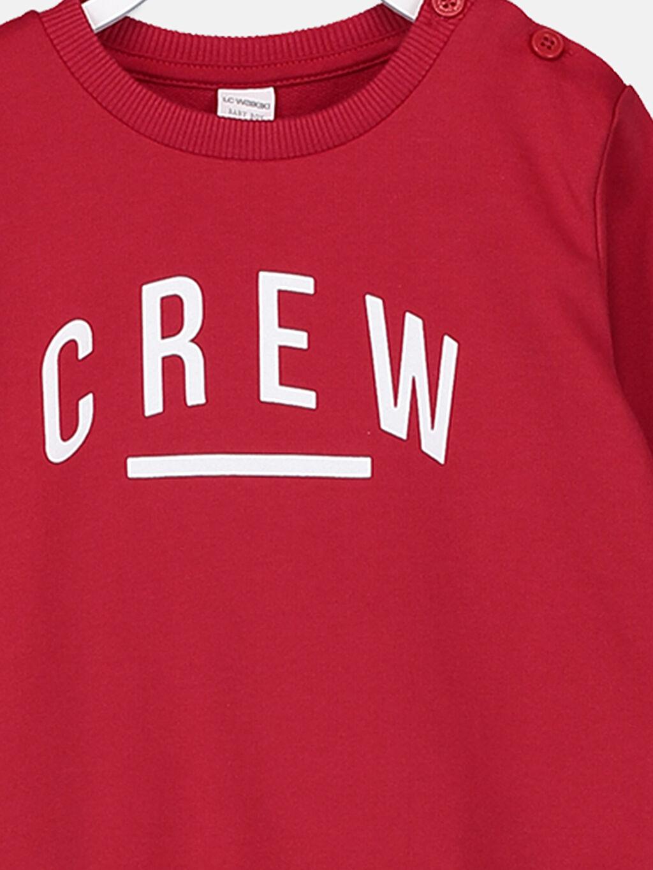 %65 Pamuk %35 Polyester Erkek Bebek Yazı Baskılı Sweatshirt