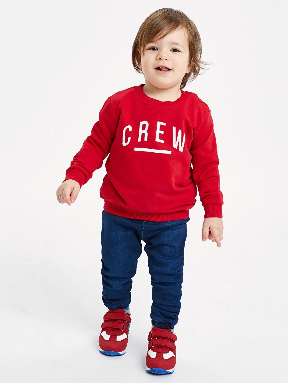 Kırmızı Erkek Bebek Yazı Baskılı Sweatshirt 9SI497Z1 LC Waikiki