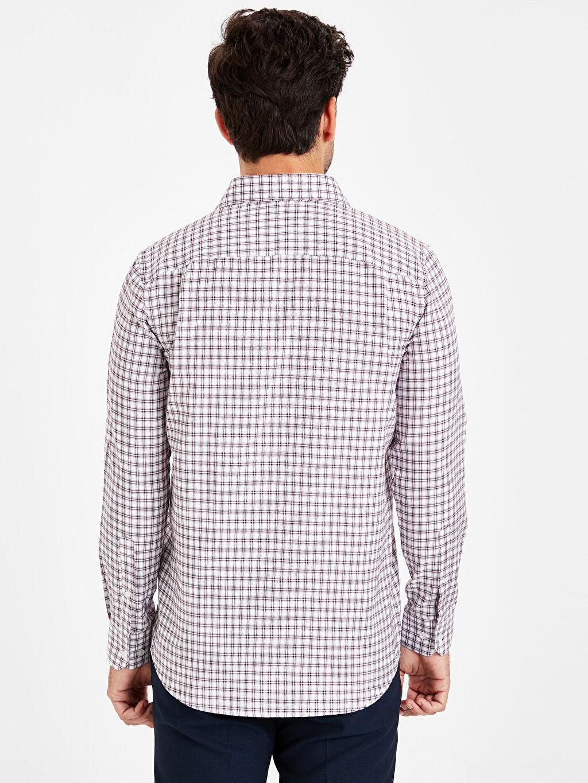%59 Pamuk %41 Polyester Regular Fit Ekose Uzun Kollu Armürlü Gömlek