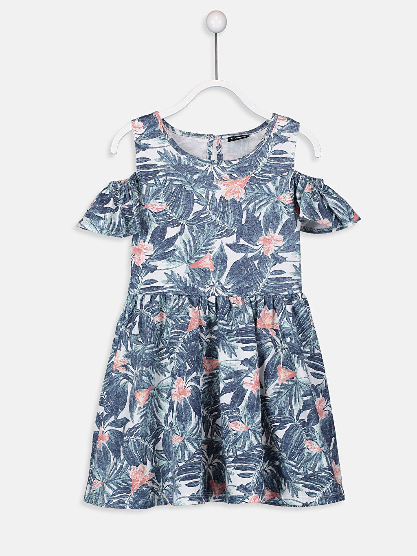 Beyaz Kız Çocuk Omuzu Açık Pamuklu Elbise 9SJ853Z4 LC Waikiki