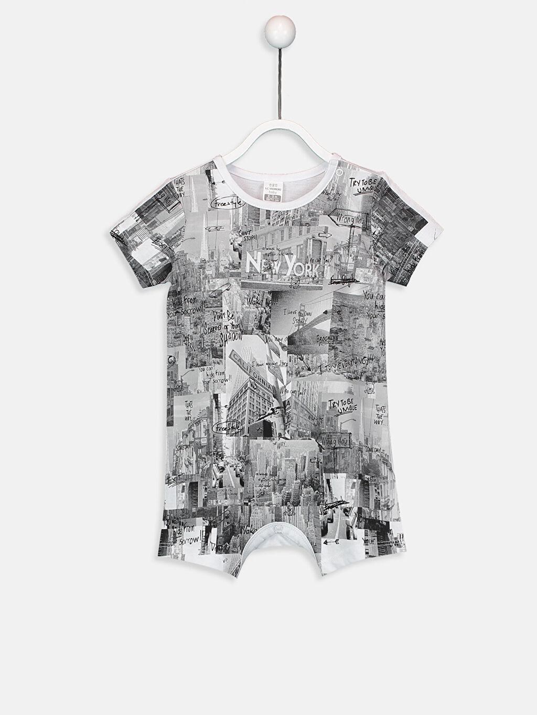 Beyaz Erkek Bebek Baskılı Pamuklu Tulum 9SJ878Z1 LC Waikiki