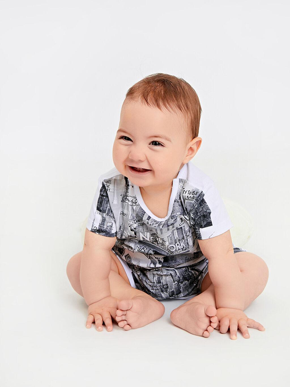 %100 Pamuk Erkek Bebek Baskılı Pamuklu Tulum