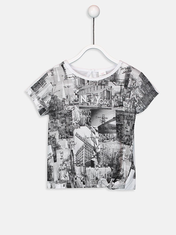 Beyaz Kız Bebek Baskılı Pamuklu Tişört 9SK553Z1 LC Waikiki