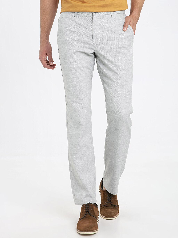 %66 Polyester %2 Elastan %32 Viskon Normal Bel Normal Pantolon Regular Fit Dokulu Pantolon