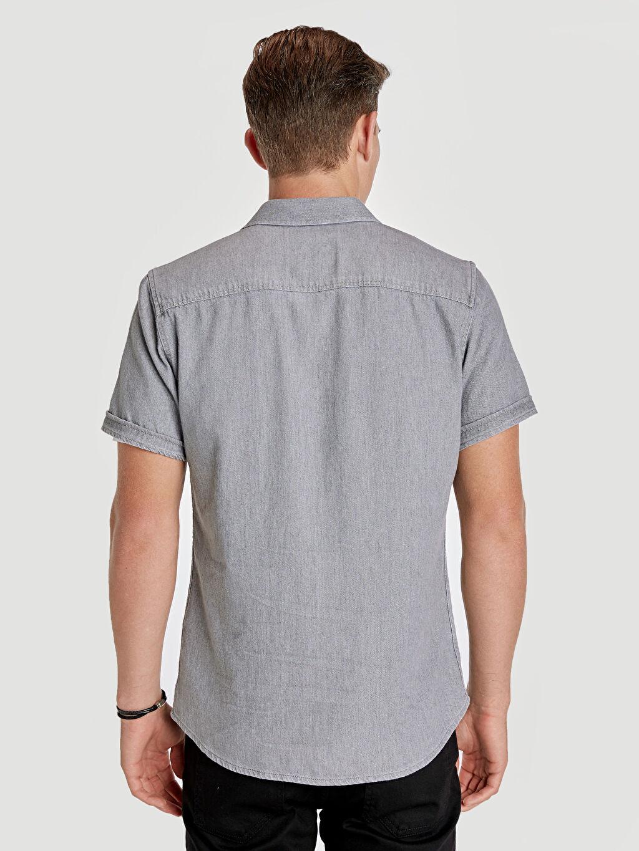 %100 Pamuk Dar Düz Kısa Kol Gömlek Düğmesiz Slim Fit Kısa Kollu Jean Gömlek