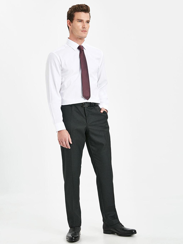 Antrasit Slim Fit Armürlü Takım Elbise Pantolonu 9SL941Z8 LC Waikiki