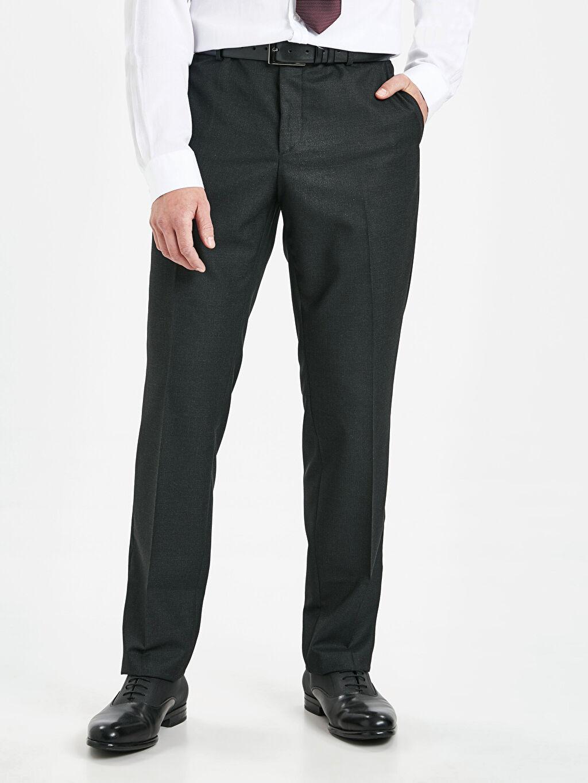 %71 Polyester %28 Viskoz %1 Elastan Normal Bel Dar Pileli Pantolon Slim Fit Armürlü Takım Elbise Pantolonu