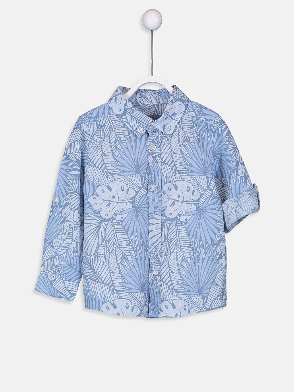 Mavi Erkek Bebek Desenli Poplin Gömlek 9SM325Z1 LC Waikiki