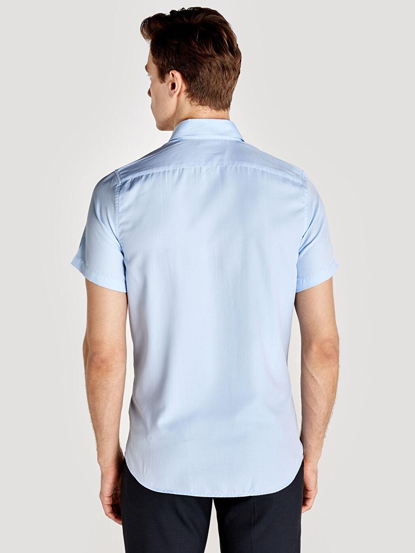 %55 Pamuk %45 Polyester Düğmeli Gömlek Yaka Dar Kısa Kol Oxford Düz Gömlek Slim Fit Kısa Kollu Armürlü Gömlek