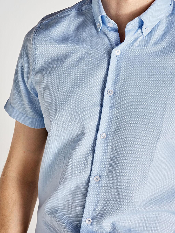%55 Pamuk %45 Polyester Slim Fit Kısa Kollu Armürlü Gömlek