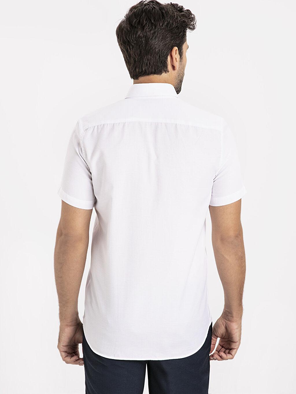 %55 Pamuk %45 Polyester Dar Düz Kısa Kol Gömlek Düğmeli Slim Fit Kısa Kollu Armürlü Gömlek