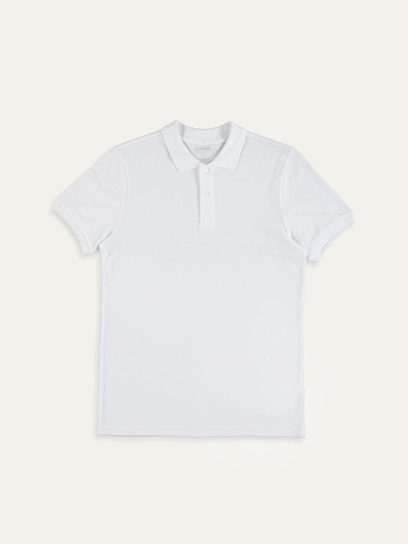 Beyaz Polo Yaka Basic Pike Tişört 9SP889Z8 LC Waikiki