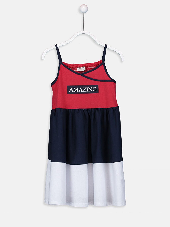 Kırmızı Aile Koleksiyonu Kız Çocuk Yazı Baskılı Pamuklu Elbise 9SQ318Z4 LC Waikiki