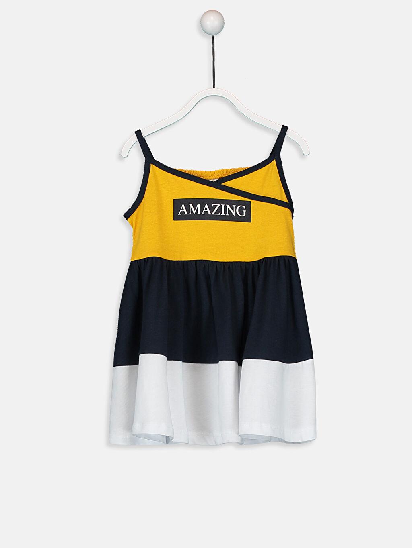 %100 Pamuk Bisiklet Yaka Süprem Elbise Baskılı Kız Bebek Baskılı Pamuklu Elbise